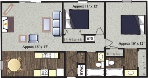 2 Bed / 2 Bath / 1,088 sq ft / Not Available Until: 11/15 / Rent: $1,100
