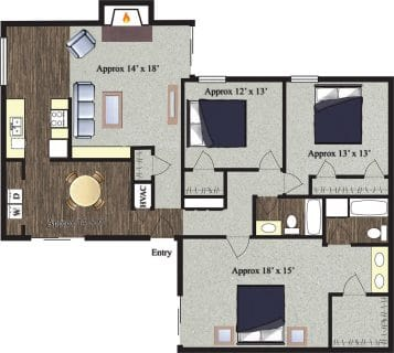 3 Bed / 2 Bath / 1,660 sq ft / Not Available Until: 11/15 / Rent: $1,400