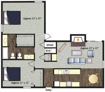 2 Bed / 1½ Bath / 1,020 sq ft / Not Available Until: 11/15 / Rent: $1,050