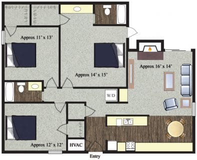 3 Bed / 2 Bath / 1,330 sq ft / Not Available Until: 11/15 / Rent: $1,200
